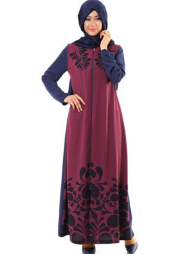 5023 Hurrem Baskili Bordo Lacivert Ferace