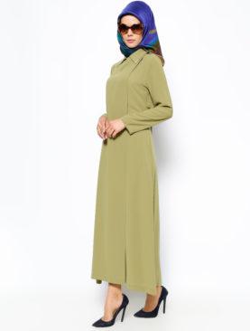 6161 Asit Yeşili Bağcıklı Ferace